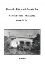 Burnside Historical Society newsletter, March, 2012, cover