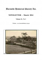 Burnside Historical Society newsletter, March, 2014, cover