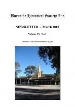 Burnside Historical Society newsletter, March, 2015, cover
