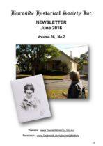Burnside Historical Society newsletter, June, 2016, cover
