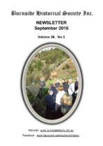 Burnside Historical Society newsletter, September, 2016, cover