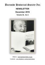 Burnside Historical Society newsletter, December, 2016, cover