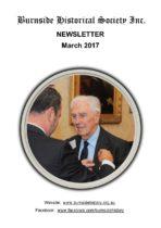 Burnside Historical Society newsletter, February, 2017, cover