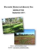 Burnside Historical Society newsletter, Sep 2017, cover