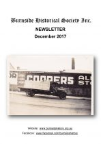 Burnside Historical Society newsletter, December, 2017, cover