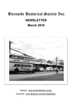 Burnside Historical Society newsletter, March, 2018, cover