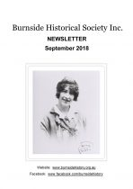 Burnside Historical Society newsletter, September, 2018, cover