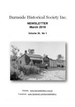 Burnside Historical Society newsletter, March, 2019, cover