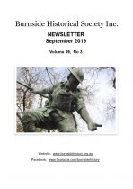 Burnside Historical Society newsletter, September, 2019, cover