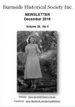 Burnside Historical Society newsletter, December, 2019, cover